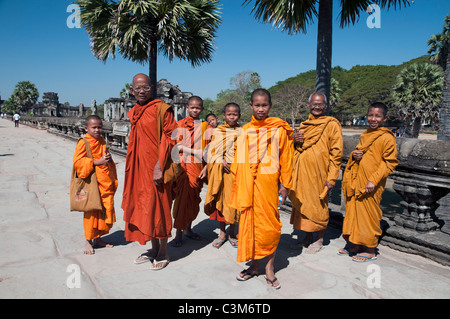 Young monks in Angkor Wat. - Stock Photo