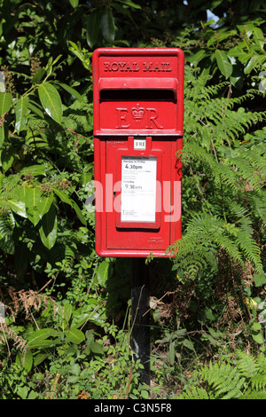 Rural Post box in country lane, East Sussex, England, Britain, UK, GB - Stock Photo