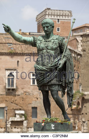 Roman Emperor Augustus Caesar Statue, Rome, Italy - Stock Photo