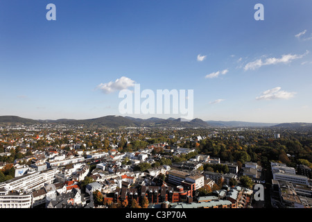 Germany, North Rhine-Westphalia, Bonn, Bad Godesberg, Elevated view of city with siebengebirge in background - Stock Photo