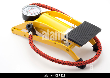 Inflator with pressure gauge on white background - Stock Photo