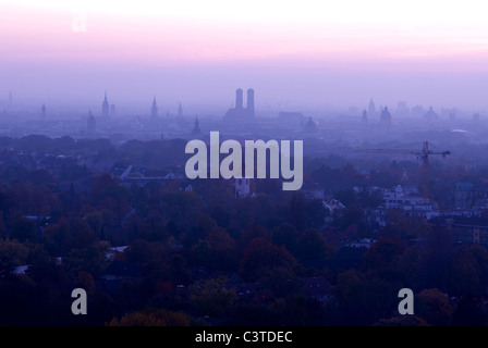 View of the city at twilight, Munich, Germany - Stock Photo