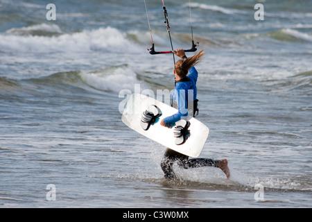 Kitesurfer in the Baltic sea - Stock Photo