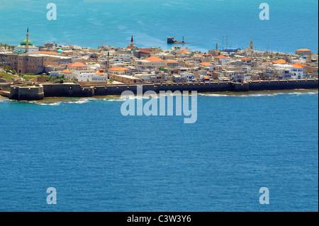 Aerial view of Acre Akko, Israel - Stock Photo