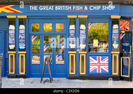 The Great British Fish and Chip shop front  in Greenwich London England UK - Stock Photo