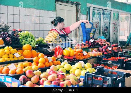 Market in Truskavets, Lviv oblast, Ukraine - Stock Photo