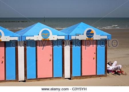 France, Nord, Opal Coast, cabins of Malo-les-bains - Stock Photo