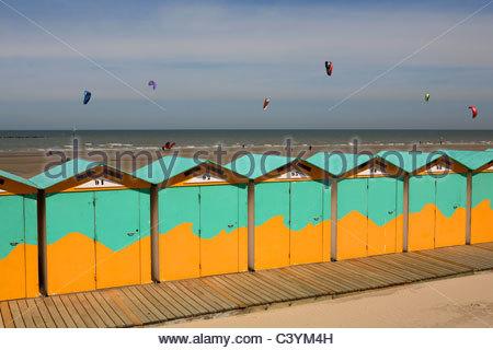 France, Nord, Malo les Bains, beach hut - Stock Photo
