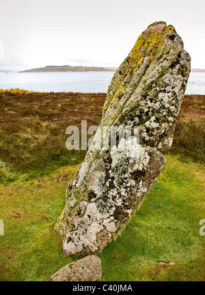 The Old Man of Gugh a neolithic standing stone on Gugh island near St Agnes in the Isles of Scilly - Stock Photo