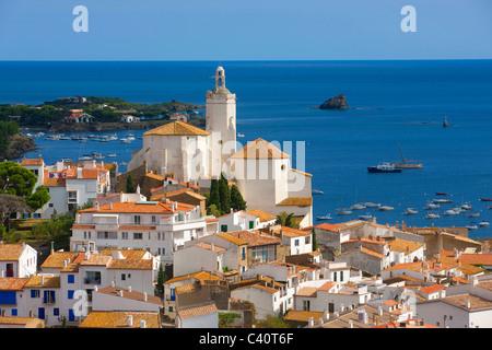 Cadaqués, Spain, Europe, Catalonia, Costa Brava, sea, Mediterranean Sea, coast, village, houses, homes, church, - Stock Photo