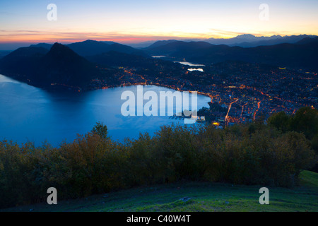 from Monte Brè, Switzerland, Europe, canton Ticino, lake, Lago di Lugano, vantage point, view point, meadow, trees, - Stock Photo