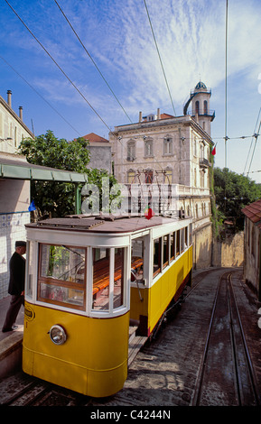 Old tram in Alfama District , oldest area of Lisbon, Portugal - Stock Photo
