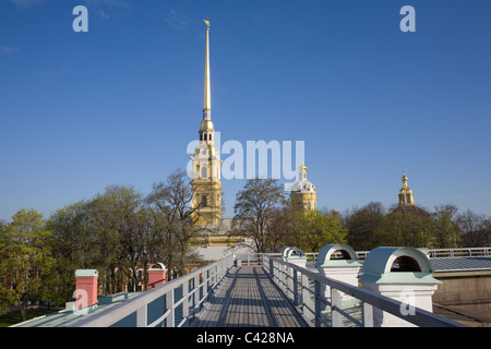 The Peter and Paul Cathedral in Peter and Paul Fortress. St. Petersburg, Russia - Stock Photo