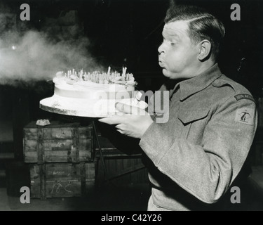 BENNY HILL UK comedian celebrating his 36th birthday on set of 1960 Criterion film 'Light Up the Sky' - Stock Photo