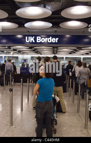 Immigration - Terminal 5 - Heathrow  Airport - London - Stock Photo