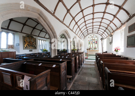 The interior of St Sampson's Church in the Cornish village of Golant, showing the wagon vaulting of the aisles. - Stock Photo