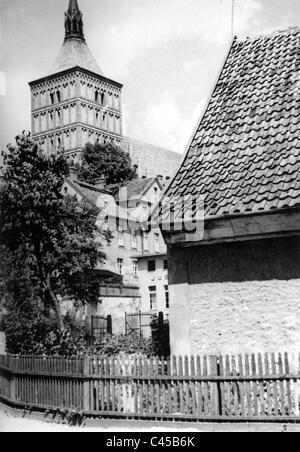 The Catholic church of Allenstein, today Olsztyn - Stock Photo