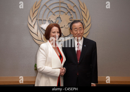 Australian Prime Minister Julia Gillard shakes hands with UN Secretary-General Ban Ki-moon at UN Headquarters in - Stock Photo