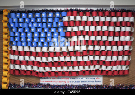Students at Mackrille Elementary School in CT USA made a flag with names of CT soldiers serving in Iraq and Afghanistan - Stock Photo