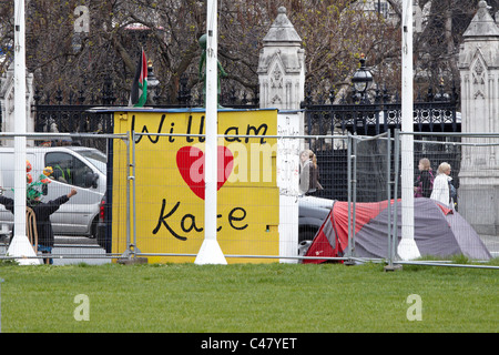 General view of the permanent protest camp in Parliament Square - Stock Photo