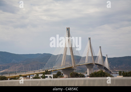 'Charilaos Trikoupis' bridge linking Rio and Andirio. From mainland Greece to the Peloponnese, across the Gulf of - Stock Photo