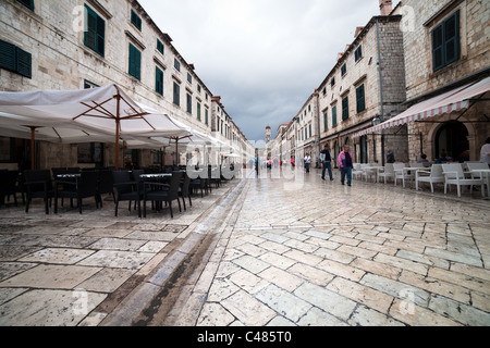 Medieval architecture ot the main street in Dubrovnik, Placa Stradun, Croatia - Stock Photo