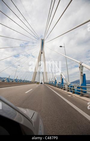 'Charilaos Trikoupis' bridge linking Rio and Andirio. From mainland Greece to the Peloponnese, across the Gulf of - Stock Photo