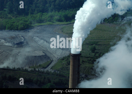 Aerial view of smoking chimney  coal electrical power station Emile Huchet, Carling Saint Avold, Moselle, Lorraine, - Stock Photo