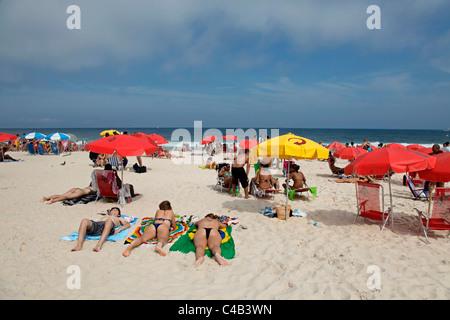 The famous Copacabana Beach in Rio de Janeiro, Brazil. - Stock Photo