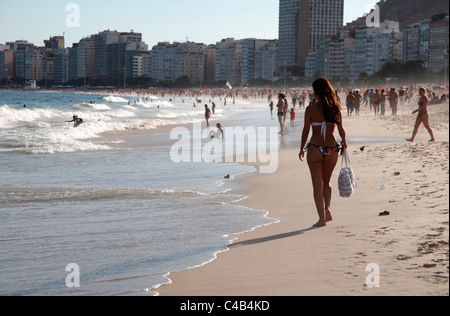 The famous Copacabana Beach in Rio de Janeiro. Brazil - Stock Photo