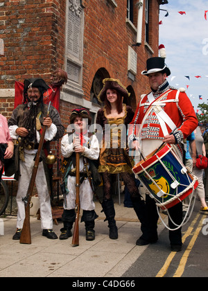 People in period dress during the Old Gaffers Festival Yarmouth Isle of Wight England UK - Stock Photo