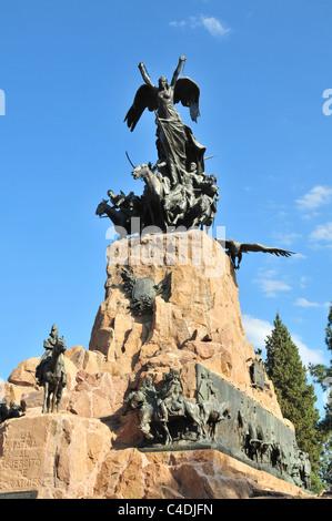 Blue sky Liberty horse grenadiers equestrian statue General San Martin, Army of Andes Monument, Cerro Gloria, Mendoza, - Stock Photo