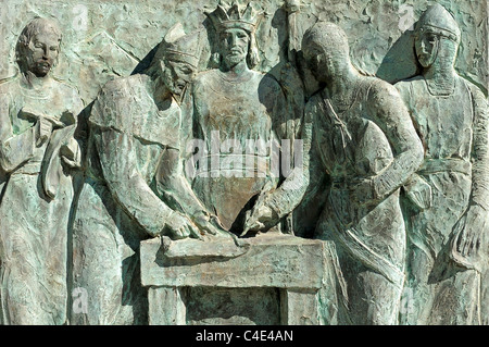 Bas-relief to commemorate the 700th anniversary of the signing of the first co-sovereignity pact, Casa de la Vall, - Stock Photo