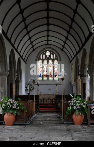 St Pancras church Widecombe in the Moor Dartmoor Devon UK - Stock Photo