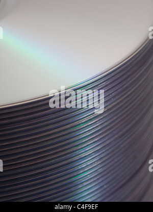 Stack of Blank DVDs Closeup - Stock Photo