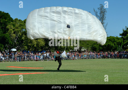 Show of French forces paratroopers in La Reunion - Stock Photo