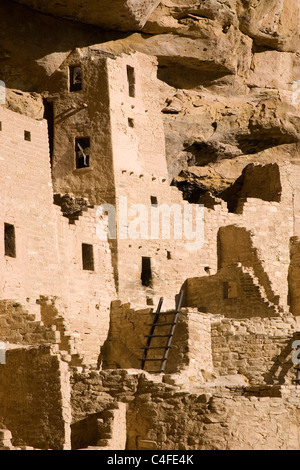 Cliff Palace cliff dwellings built over a 1000 years ago by Ancestral Puebloans (Anasazi).Mesa Verde National Park, - Stock Photo