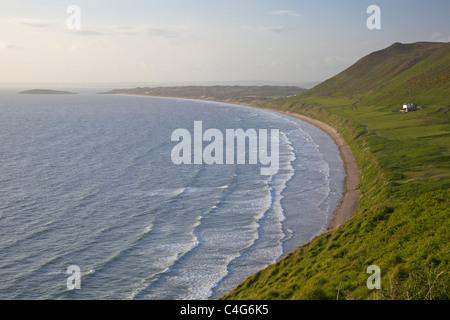 Rhossili beach in late evening spring sunshine, Gower Peninsula, South Wales, Cymru, GB, UK, British Isles - Stock Photo
