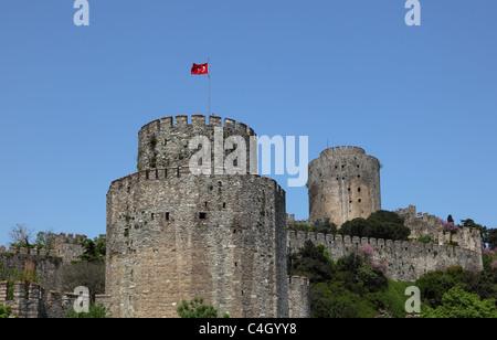 Rumeli Fortress on the Bosporus, Istanbul Turkey - Stock Photo