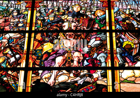 Spain, St. James Way: Glass Window with scene of the battle of Roland in the museum of the Colegiata Santa Maria - Stock Photo