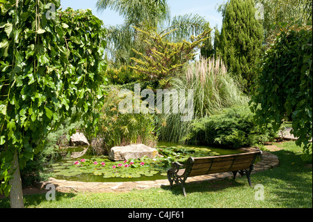 An idyllic pond in the middle of a lush garden - Stock Photo