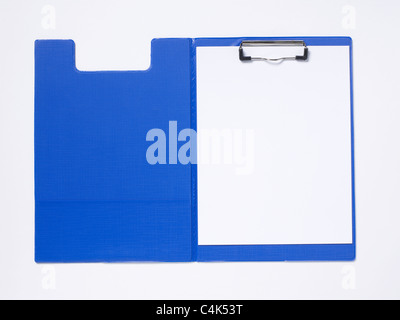 Blue clipboard with white blank paper - Stock Photo