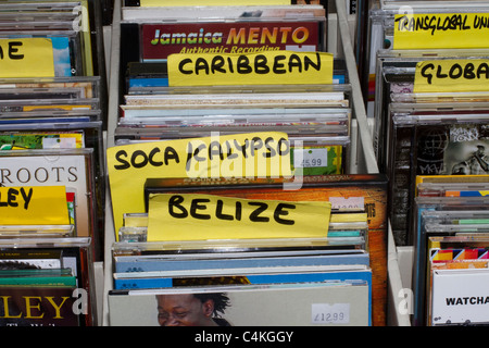 African, Sierra Leone, Caribbean, specialist  Music CD's, music, business, shop, occupation, people, ethnicity, - Stock Photo