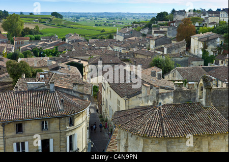 Rooftops of St Emilion in the Bordeaux region of France - Stock Photo