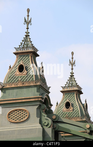 Decorative detail on top of Hammersmith Bridge, River Thames, west London, England, Great Britain, United Kingdom, - Stock Photo