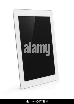 White Apple iPad 2 tablet computer with blank display. Isolated with clipping path on white background. - Stock Photo