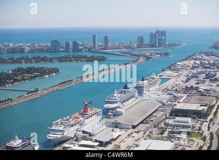 USA,Florida,Miami harbor as seen from air - Stock Photo