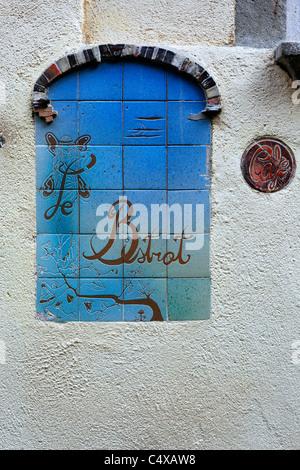 Street cafe sign, Girona, Catalonia, Spain - Stock Photo
