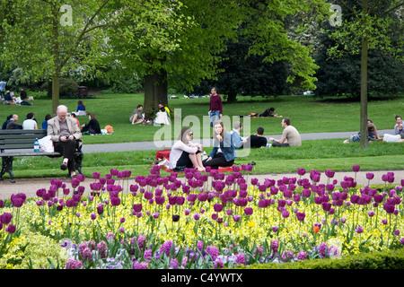 Visitors and Spring flowers, Avenue Gardens,  Regent's Park, London, England , UK - Stock Photo