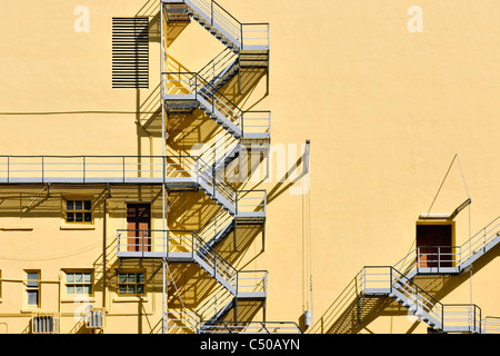 fire escape staircase - Stock Photo